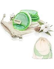 22 stuks make-uppads, wasbaar, herbruikbare wattenpads van bamboe en katoen, perfect voor gezichtsreiniging, milieuvriendelijke producten, 2 kleuren met waszak