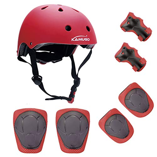 - KAMUGO Kids Youth Adjustable Sports Protective Gear Set Safety Pad Safeguard (Helmet Knee Elbow Wrist) Roller Bicycle BMX Bike Skateboard Hoverboard and Other Extreme Sports Activities
