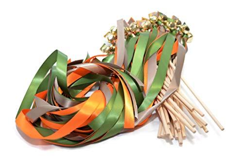25 Autumn Dream: Tangerine, Moss & Stone Brown Triple Ribbon Gold Bell Wands #DivintiyBraid #WeddingWands #RibbonWands #Favors #CeremonySendOff #KissingBells