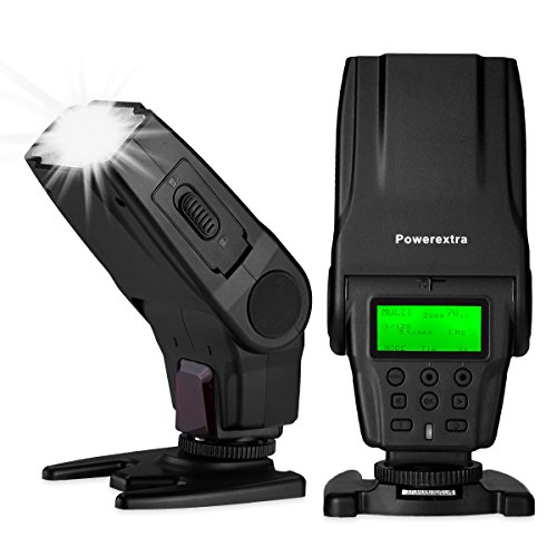 TTL Flash Speedlite, Powerextra 1/8000s HSS Wireless Master Slave Speedlight with LCD Display for Canon & Nikon Series DSLR Camera with Single-Contact Hotshoe