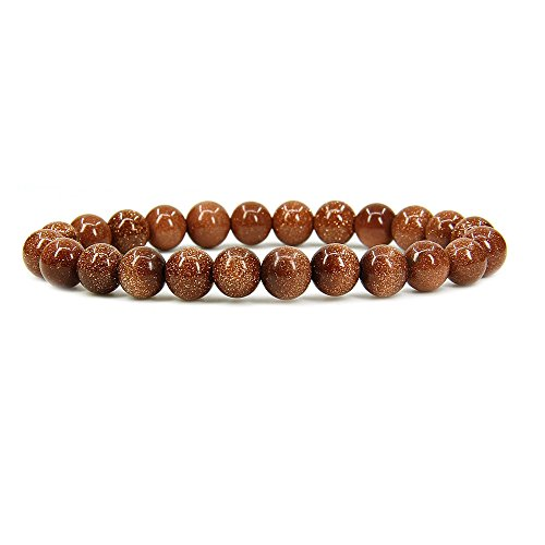 Goldstone Gemstone Beads - Amandastone Synthetic Goldstone Gemstone 8mm Round Beads Stretch Bracelet 7