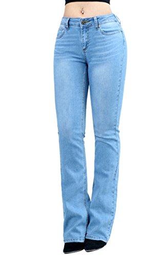 Women Fashion Trendy Sexy High Waisted Stylish Flare Bell Bottom Jean SIZE-9 LT DENIM-91000 (Jean Fashion Flare)