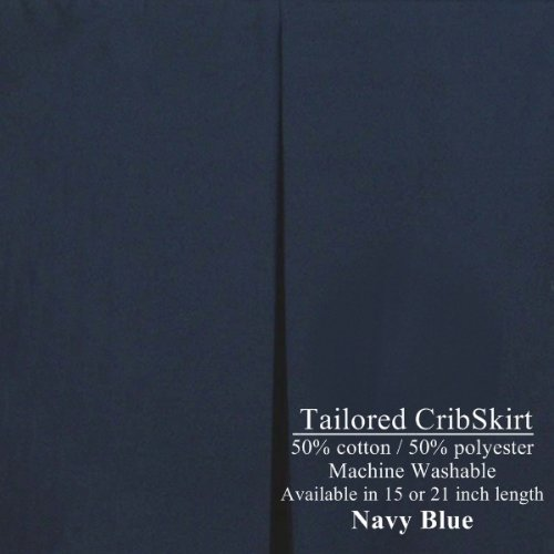 Navy Blue Cribskirt 21 inch Dust Ruffle for Cribs Tailored