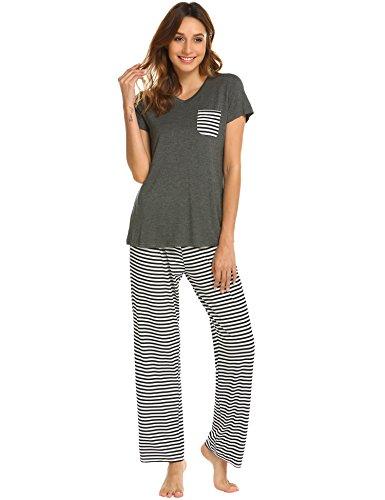 19a5c758f65 Hotouch Womens Pajama Set Striped Short Sleeve Top   Pants Sleepwear Pjs  Sets Dark Grey XXL
