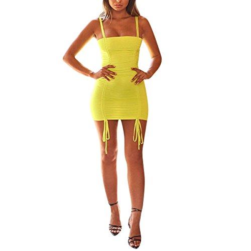 Mini e coulisse coulisse Ilangareee con senza donna da strette con abito maniche Yellow maniche SxHZ4wfq