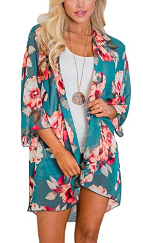 (Women's Floral Print Puff Sleeve Kimono Cardigan Loose Cover Up Casual Blouse Tops (XX-Large, Blue Green0))