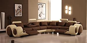 4087 - Bonded Leather Sectional Sofa with Recliners