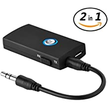 2-in-1 Bluetooth Transmitter Receiver Portable Wireless Adapter with Stereo Music Transmission for Home TV Headphones 3.5mm Audio Devices