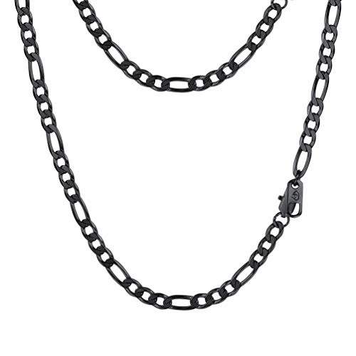 PROSTEEL Sleek Black Necklace,Figaro Link Chain,Chains,Men Necklace,22inches,Cool,Gothic,Gift for Him,Mens Fashion Jewelry ()