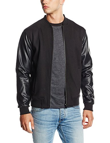 Urban Classics Zipped Leather Imitation Sleeve Jacket, Chaqueta para Hombre Negro (Blk/Blk 17)
