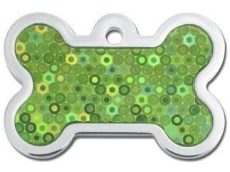 Hologram Collection Bone Shape Personalized Custom Engraved Pet ID Tags! (Green Dots, ()