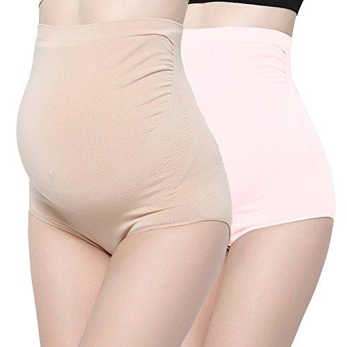 - Surewin Women's Seamless Over Bump Maternity Underwear High Waist Pregnancy Panties L/XL Beige Pink 2 Pack