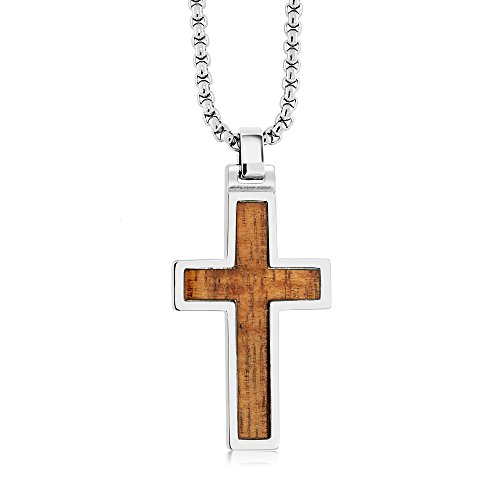 Tungsten Mens Jewelry WOOD INLAY TUNGSTEN CARBIDE CROSS PENDANT ON 3MM STAINLESS STEEL BOX CHAIN NECKLACE