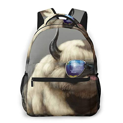 Dog Long Horn On The Head Backpck With Smooth Zippers, Travel Hiking & Camping Rucksack Large Capacity School Daypack Backpack Anti-Theft Multipurpose Bookbag (Dinosaur With Horn On Back Of Head)
