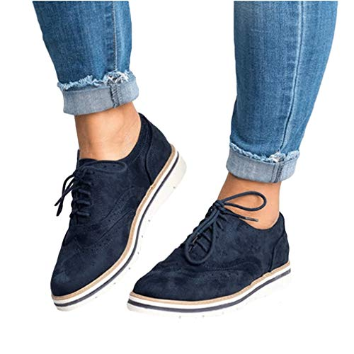 Flat Ankle Women's Brogues Leisure Single Heels Boots Retro Leather Lace Daily Ladies Carving Shoes Up Blue Dress Juqilu Shoes Fashion p4q4B