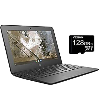 HP Chromebook 11.6 Inch Non-Touch Premium Laptop, AMD A4-9120C up to 2.4 GHz, 4GB RAM, 16GB SSD, WiFi, Bluetooth, Chrome OS + NexiGo 128GB MicroSD Card Bundle (Renewed)