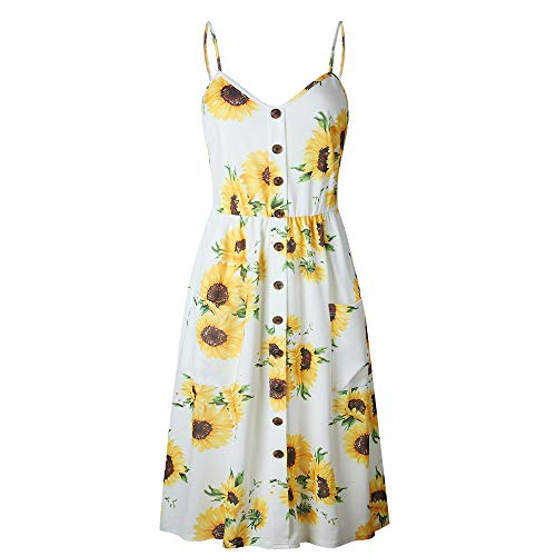 LitBud Womens Summer Dresses for Women Ladies Spaghetti Strap Casual Beach Party Button Down Vacation Midi Swing Dress with Pockets Sunflower White Size 4 6 S Easter