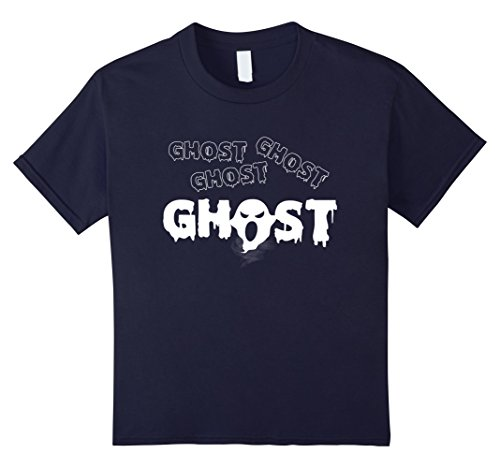 Kids Ghost Illustration Original Shirt Halloween costumes TShirt 10 Navy