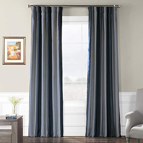 (Pts-SLK002-96 Faux Silk Stripe Curtain, 50 x 96