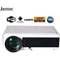 Jambar 3000 Lumens Full HD Resolution 1280X800 Android 4.4 Wi-Fi/Meeracast/Home Cinema LED Projector 200-inch Screen