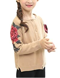 MFrannie Girl Flower Embroidery Solid Casual Knitted Cardigan Sweater