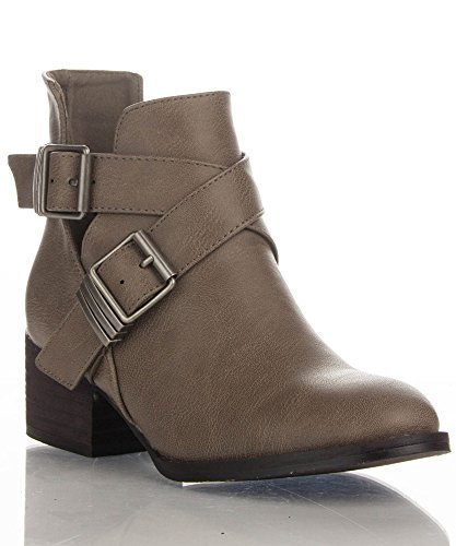 Breckelle's Bronco-11 Vegan Leather Strappy Closed Toe Cut Out Buckle Ankle Booties Beige PU (6.5)