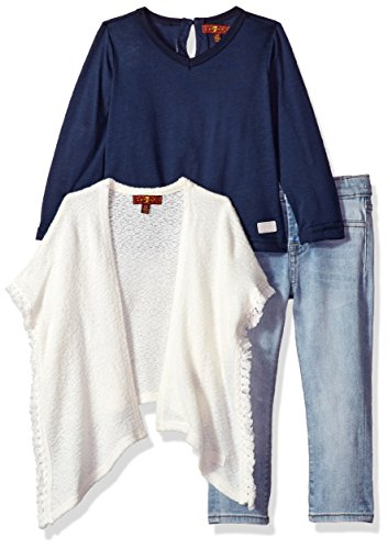 7 For All Mankind Girls' Toddler Sweater, Knit Top and Pant Set (More Styles Available), G3276-Oatmeal, 3T (All Mankind For Sweater 7)