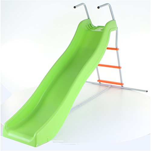 Green & Orange Crazy Wavy Slide & Step Set Childrens Kids Garden Play Area