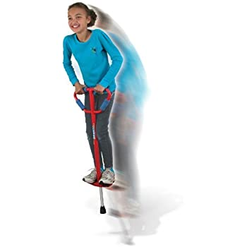Medium Jumparoo Boing! I Pogo Stick by Air Kicks for Kids 60 to 100 Lbs, RED