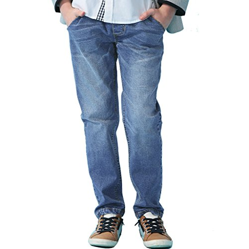 - Leo&Lily Big Boys' Kids' Husky Rib Waist Stretch Denim Jeans Pants (Light Blue, 5) LLB621