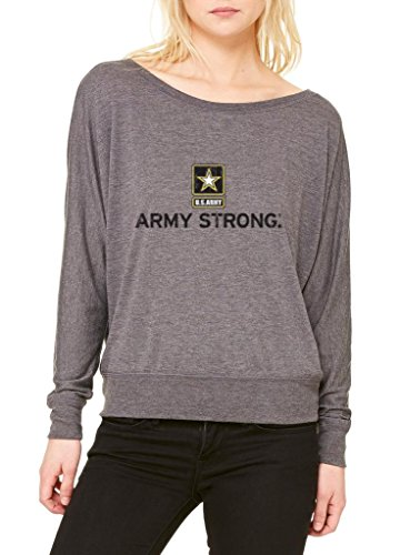 Army Wife Dark T-shirts (Artix Army Strong US Army Men Army Wives Fashion People Women's Flowy Long Sleeve Off Shoulder Tee Clothes XX-Large Dark Grey Heather)