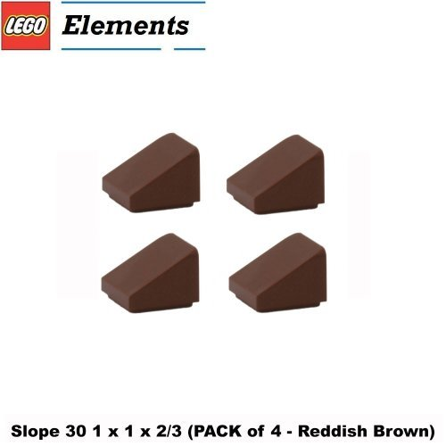 Lego Parts: Slope 30° 1 x 1 x 2/3 (PACK of 4 - Reddish Brown)