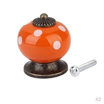 Ceramic Dot Door Knob Handle Drawer Cupboard Wardrobe Porcelain Pull Orange