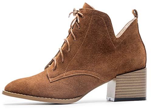 Del Talón 5 Martin Negro Simplec Punta Mujeres pelaje Con Tobillo Redonda De Clásico Boots Cordones 5cm Gamuza Botines Altura BqZawq