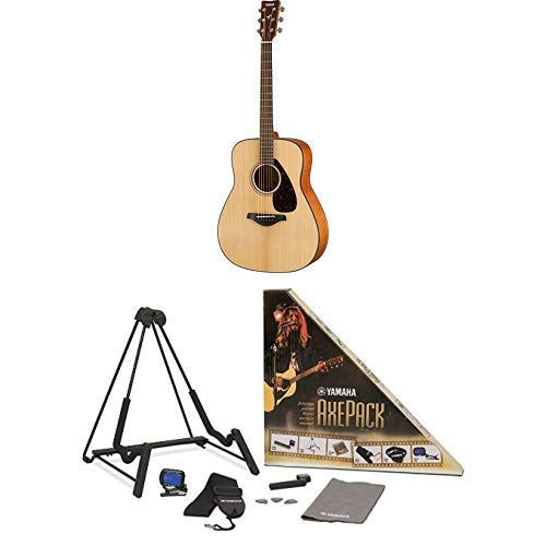 Yamaha FG800 Solid Top Acoustic Guitar with Axe Pack Guitar Accessory Kit for Electric & Acoustic Guitar