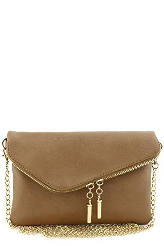 Envelope Wristlet Clutch Crossbody Bag with Chain Strap Stone by FashionPuzzle