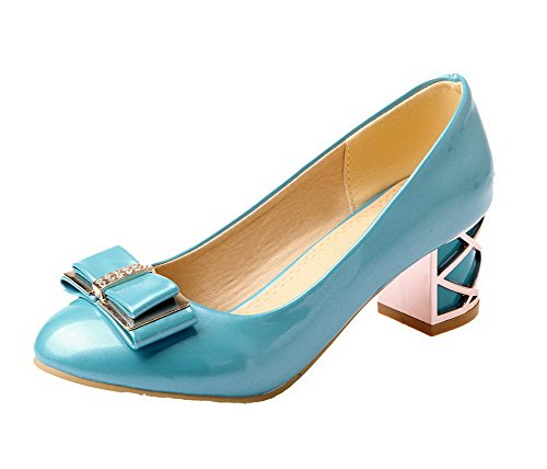 VogueZone009 Women's Round Closed Toe Kitten-Heels Solid Pumps-Shoes Blue