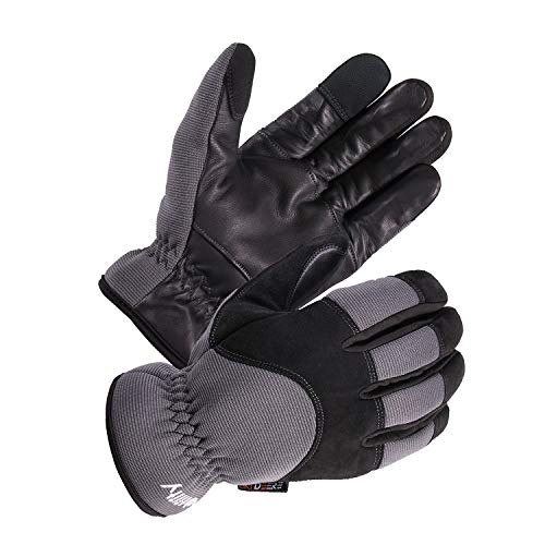 - SKYDEER Genuine Leather Winter Hybrid Touch Screen Work Gloves with Fleece Insulation (SD2240T/XL)