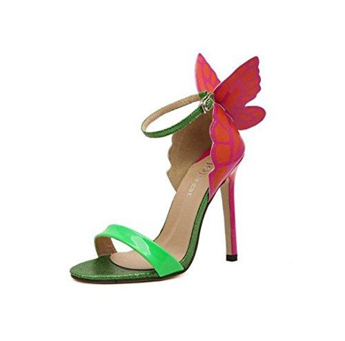 Riemchen Spangen Abend High Sandaletten WSK Bequem Bequeme Damen Schuhe green Pumps Heels Party 6XqAw