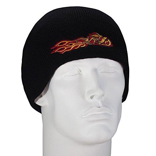 Bandana.com Flaming Chopper Embroidered Black Beanie - Single Piece
