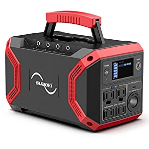 SUAOKI 300W Portable Power Station, 322Wh Solar Generator Power Supply Battery Pack 2020 Updated with 4 AC Outlets, 5 DC & 5 USB Ports (60W PD USB C), LED Flashlight for Camping Travel Outdoors (S370)