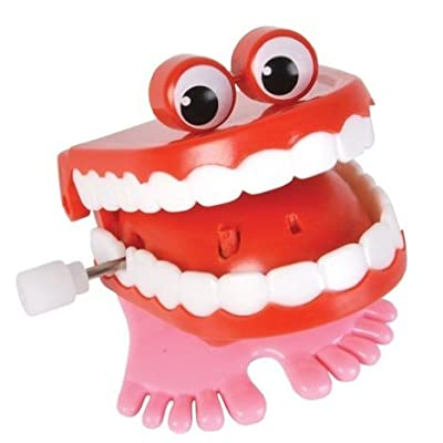Ruksikhao 2-Chattering Chomping Wind up Toy Walking Teeth with Eyes: Toys & Games