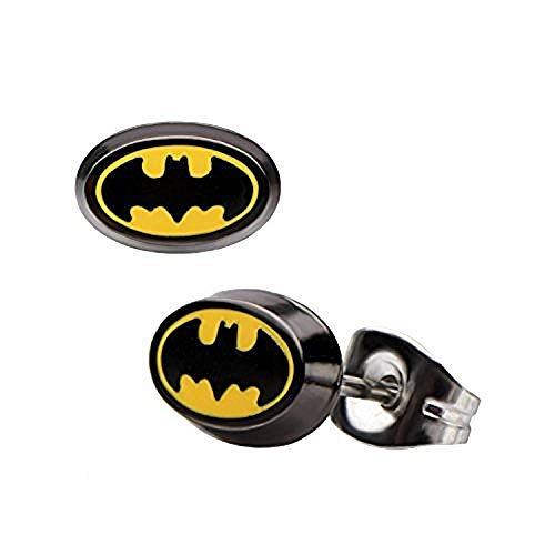 DC Comics Enamel 316L Stainless Steel Batman Stud Earrings (Batman Earrings For Men)