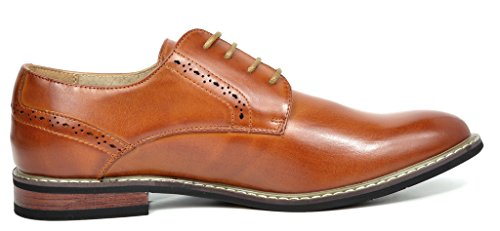 Bruno MARC PRINCE-16 Men's Oxford Modern Classic Brogue Lace Up Leather Lined Perforated Dress Oxfords Shoes Brown Size 13