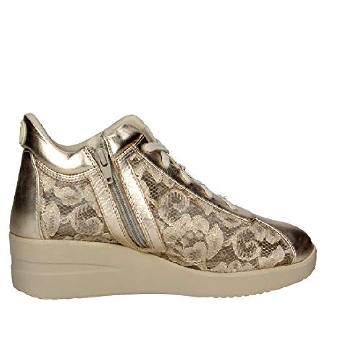 Agile By Rucoline Scarpe Donna Sneaker Zeppa Pelle E Pizzo Colore Gold 226 N° 39