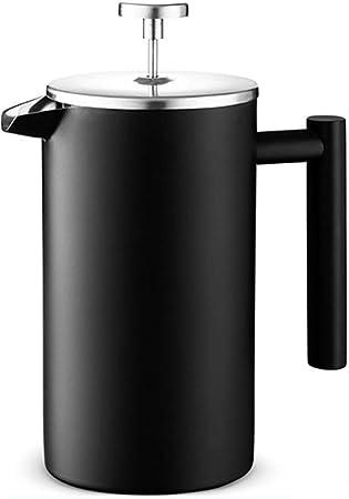 Cafetera de presión de acero inoxidable Prensa francesa Cafetera con filtros adicionales Aislamiento doble Botella de agua caliente diseñada en negro,Black: Amazon.es: Hogar