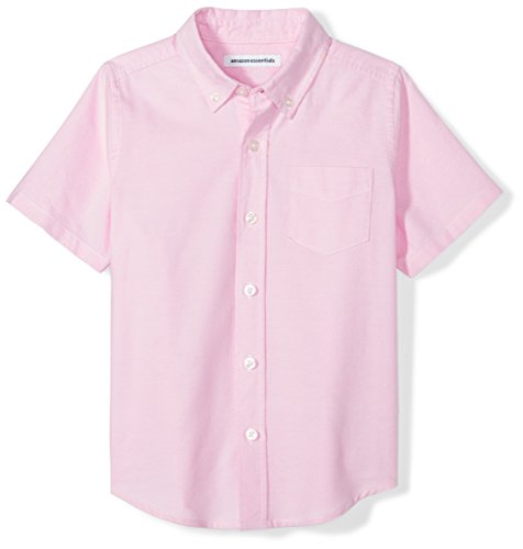 (Amazon Essentials Big Boys' Short-Sleeve Uniform Oxford Shirt, Pink, XL (12))
