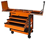 Sunex 8035XTOR 3 Drawer Service Cart with Sliding Top- Orange