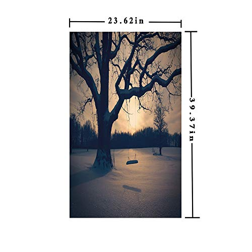 Window Film decorate Glass Film 3D printed,Majestic Tree in the Garden with A Swing Nostalgic Dramatic Winter Scenery Decorative,W15.7xL63in,For Bathroom Bedroom Living Room with Tan Blue -