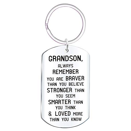 Grandson Inspirational Jewelry Keychain Gift- Always Remember You are Braver Than You Believe